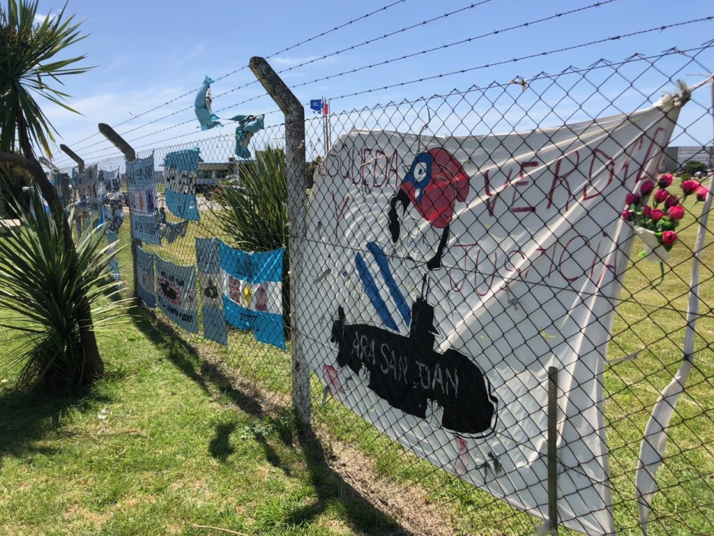 Navy base fence turned into a memorial in Mar del Plata