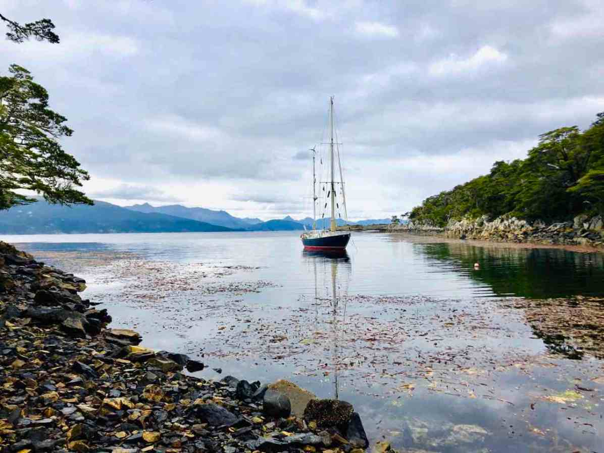 Anchored at Caleta Boracho in the Beagle Channel