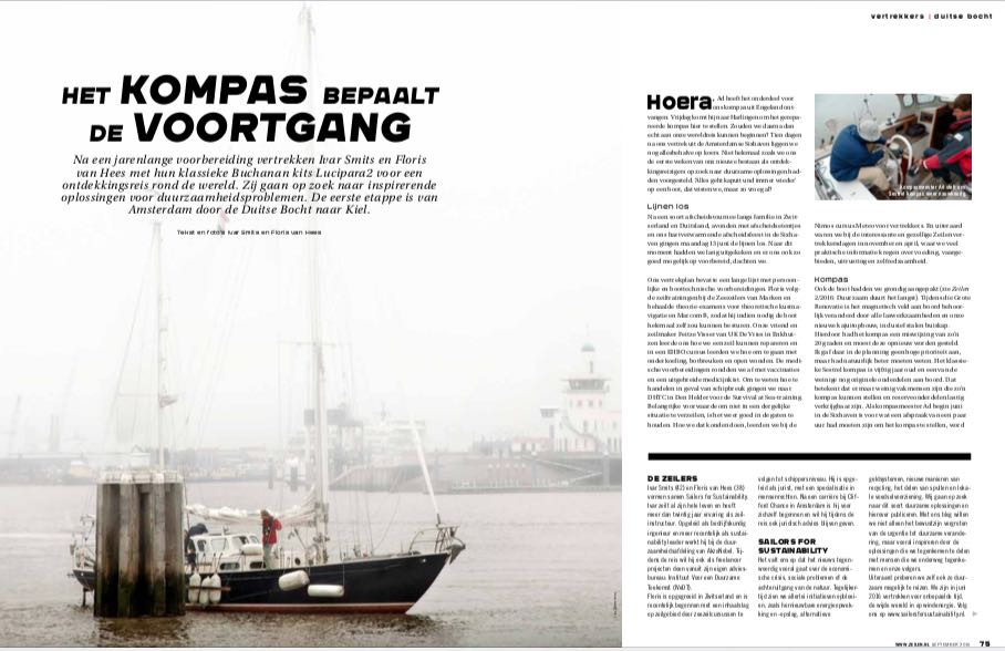 Article 3 Sailors for Sustainability in Zeilen 201609 about Our Departure