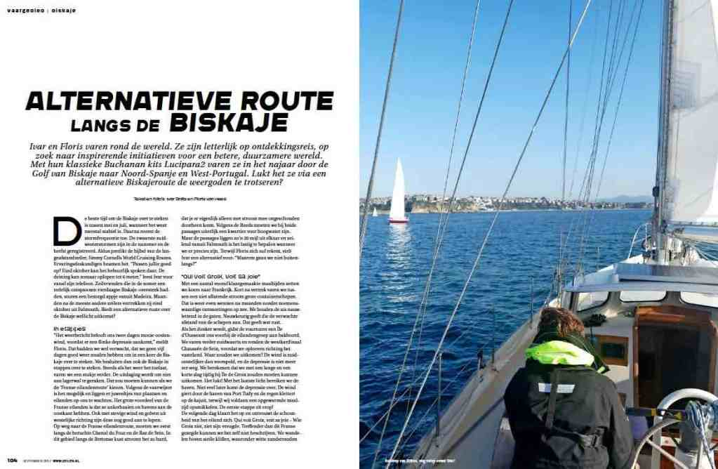 Article 5 Sailors for Sustainability in Zeilen 201709 about Gulf of Biscay