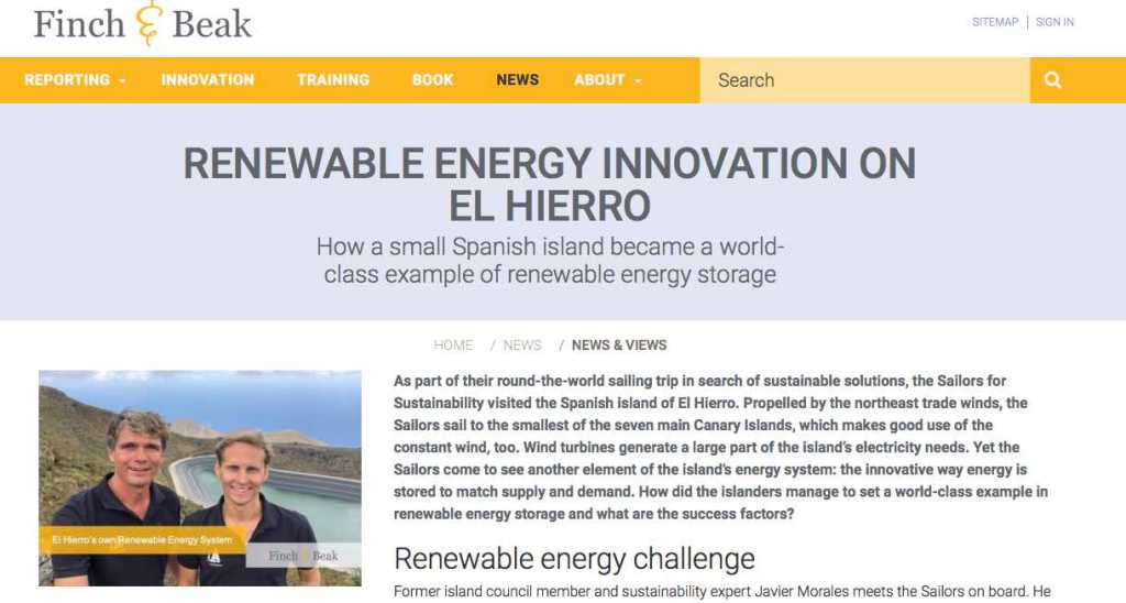 Newsletter 6 Sailors for Sustainability at Finch and Beak about El Hierro