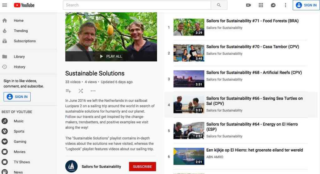 Sailors for Sustainability You Tube Playlist Sustainable Solutions