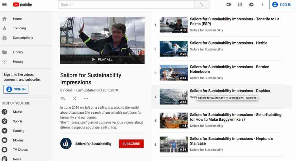 Sailors for Sustainability YouTube Playlist Impressions