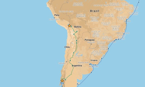 Our route from Puerto Montt to Copacabana