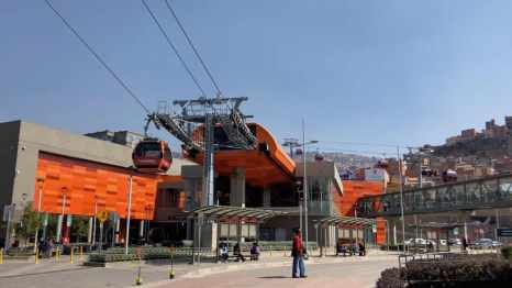 Public cable car station in La Paz