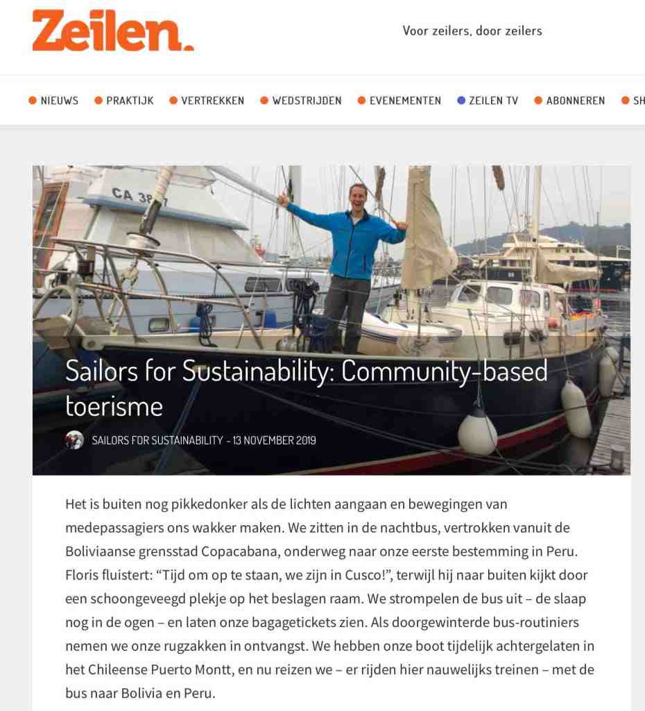 Sailors for Sustainability in Zeilen about Community-based tourism