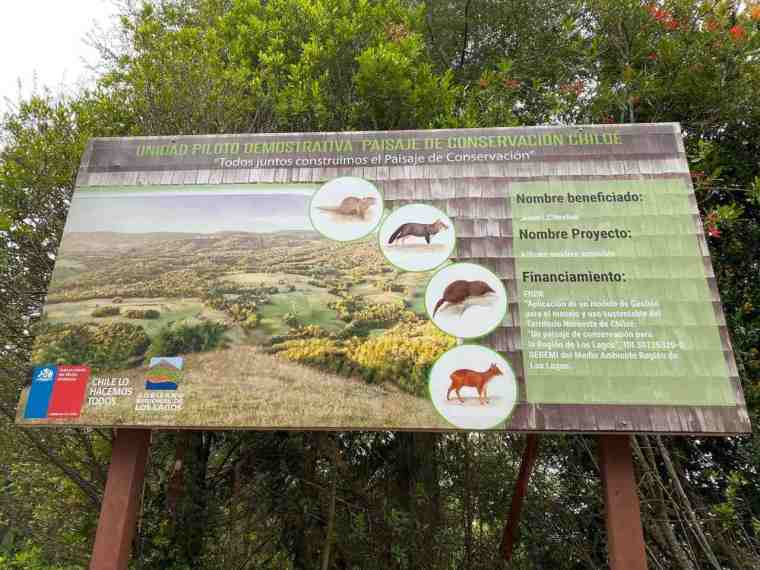 Info sign on Alihuen's educational forest trail