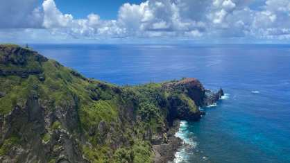 Pitcairn steep, rocky coast
