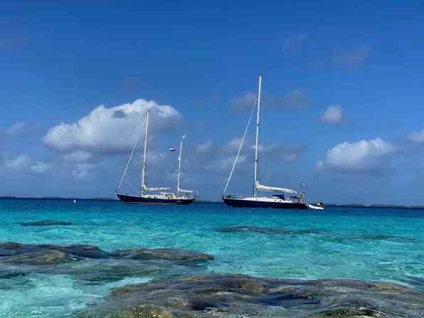 Anchored with SY Stormalong at Amanu