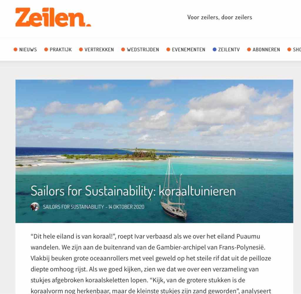 Blog 50: Sailors for Sustainabilty at Zeilen about Coral Gardening 20201016