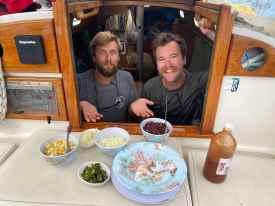 Farewell breakfast by Tripp and Zach onboard SY JHenry