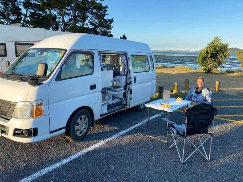 Freedom camping near Katikati with Miss Nissy, our mobile mini-home