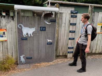 Our guide Tim explains how the fence keeps predators out of Zealandia