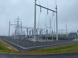 The electricity is put into the grid with transformers