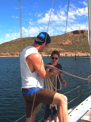 Day one coiling the halyard