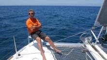 Scott sitting on bow