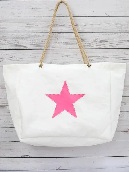 Pink Star Beach Bag