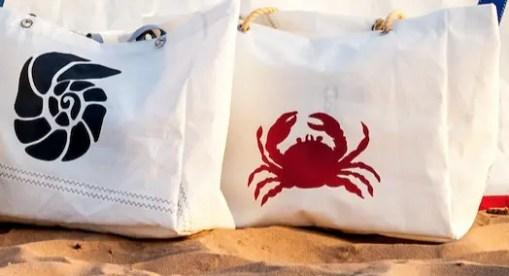 Ammonite and Crab Marine Life Beach bag