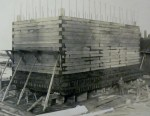 The walls of the caissons were three feet thick