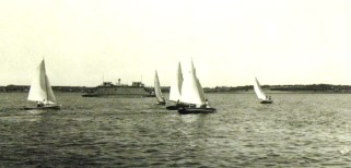 The racing fleet with the Fairview in the background