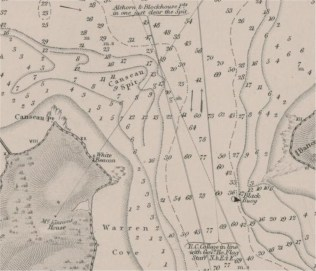 1869 Chart detail showing location of Canceaux Point range.