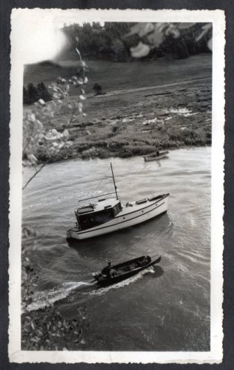 Mac Irwin's Roamer at anchor. The steep banks of the river provided several dramatic scenes