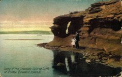 Seatrout Point with Blockhouse in the distance. Carter & Co. postcard. This card also has Louson and Jean Louson in the image.