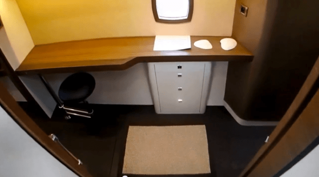 Another view of the port companionway office. It has a fold out seat that doesn't take up much room