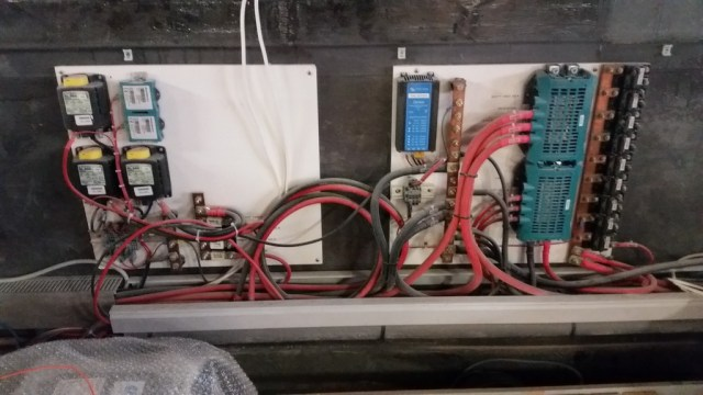 DC electrical distribution panel in salon