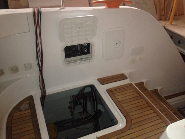 Watermaker control panel at the top of the starboard steps