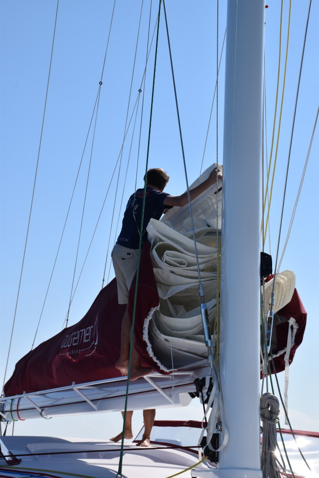 Gavin stacking the mainsail.
