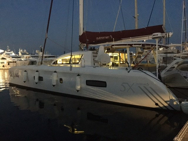 Wildling at the marina in Cannes on our last night before heading west