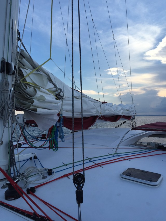 Here's a photo of the sailbad that was destroyed during our passage between France and Majorca