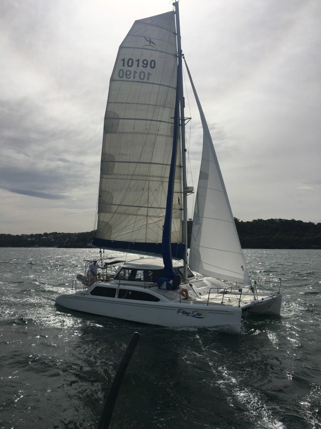 Seawind snuffing their spinnaker to get ready for the upwind leg