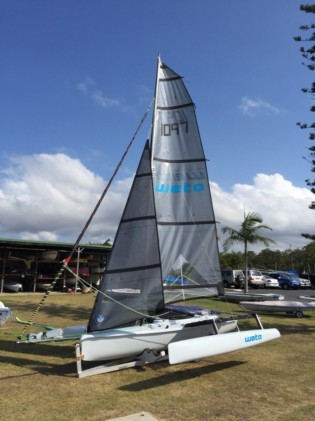 Our new Weta trimaran rigged for the first time