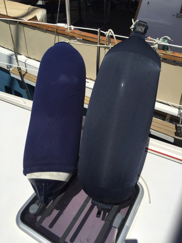 Old generation Polyform fender on the left and the new superlight Fendertex fender on the right