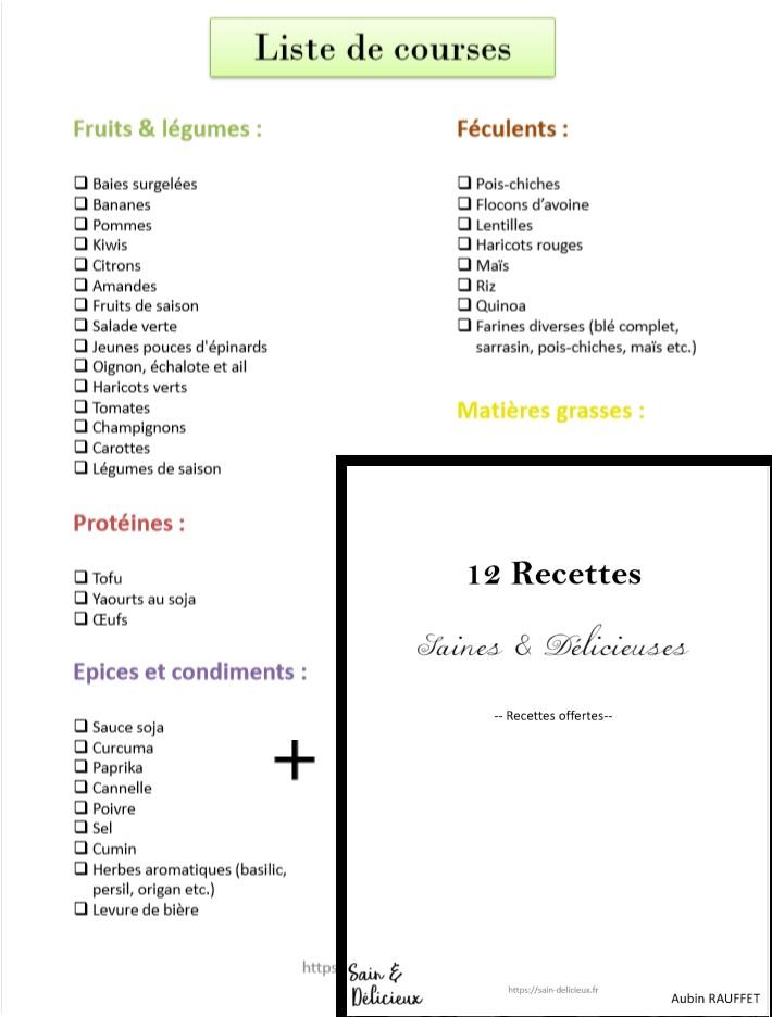 Liste de courses + recettes