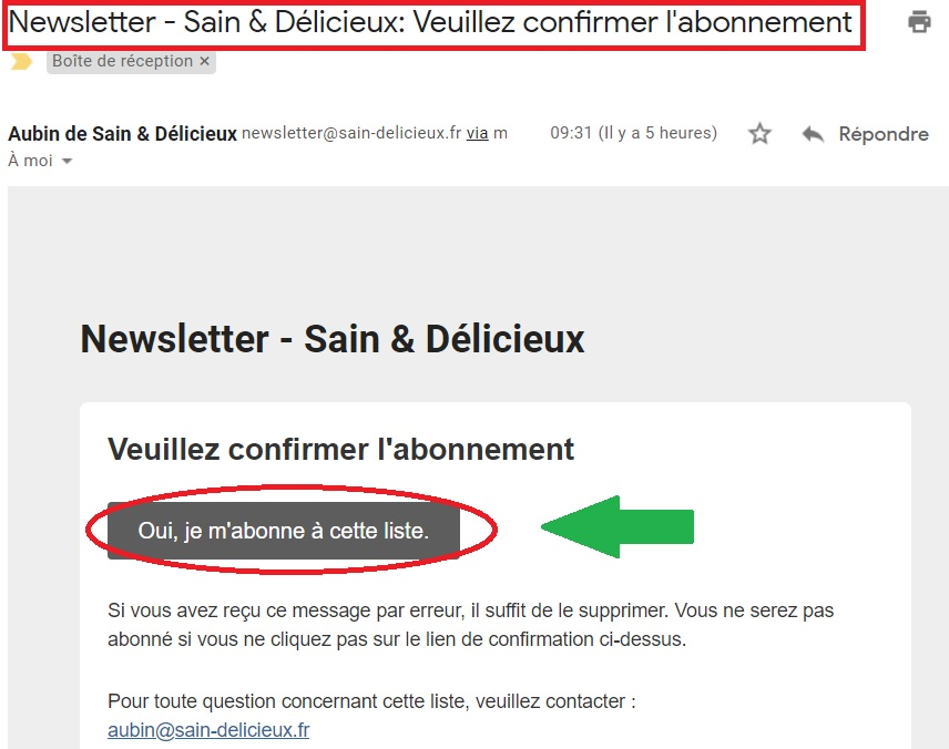 Newsletter : confirmez l inscription