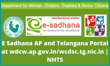 E Sadhana AP and Telangana Portal at wdcw.ap.gov.in/wcdsc.tg.nic.in | NHTS