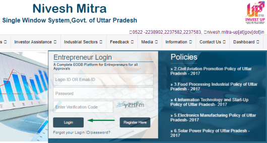 UP Nivesh Mitra Entrepreneur Login Process