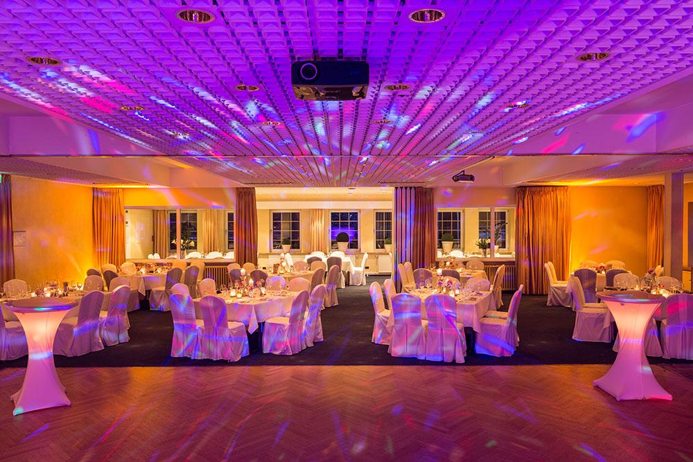 a venue set up for a party