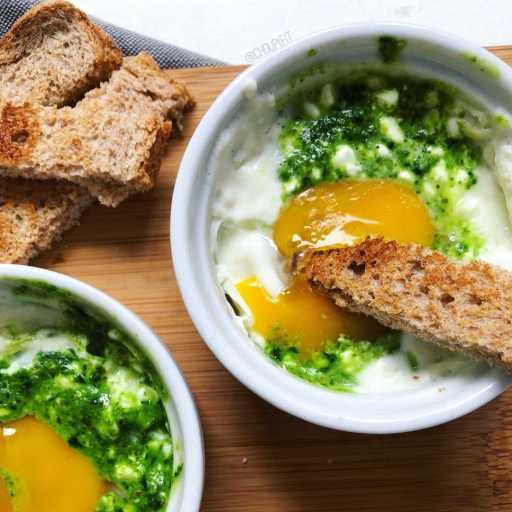recette healthy et minceur d'un oeuf cocotte au pesto cuit au micro onde sans crème
