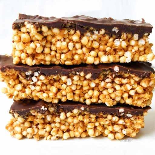 recette healthy et vegan de barre de céréales maison au chocolat, quinoa soufflé et beurre de cacahuète sans gluten et sans lactose