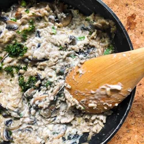 Risotto aux champignons de paris sans crème et sans vin