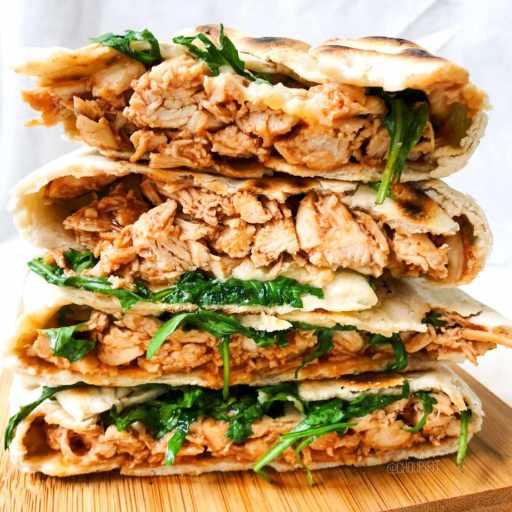 recette healthy et rapide de wrap maison avec du poulet sauce bbq sans matière grasse
