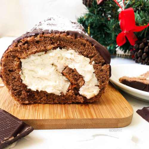 Bûche de Noël au chocolat et noix de coco sans crème