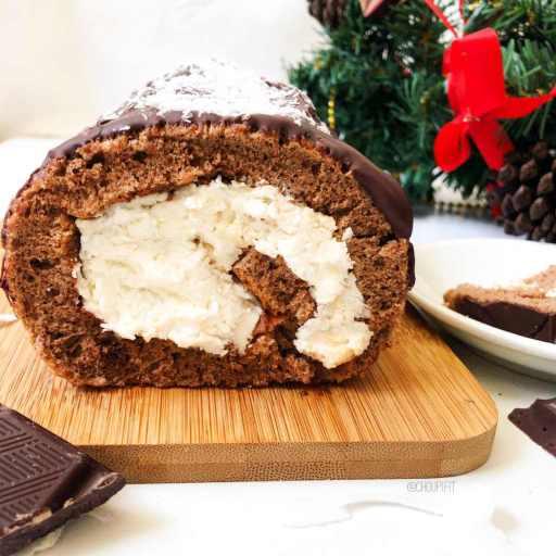 recette healthy et facile de bûche de noël au chocolat et noix de coco
