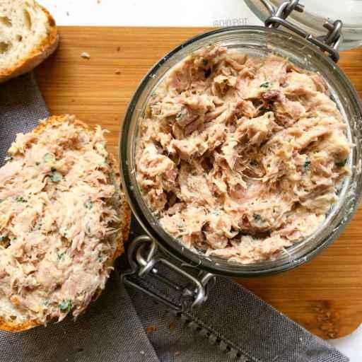 recette healthy et light de rillette de thon sans crème, sans gluten et sans matière grasse