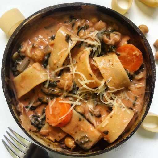 recette healthy et rapide de pâtes aux pois chiches cuites comme un one pot pasta e ceci