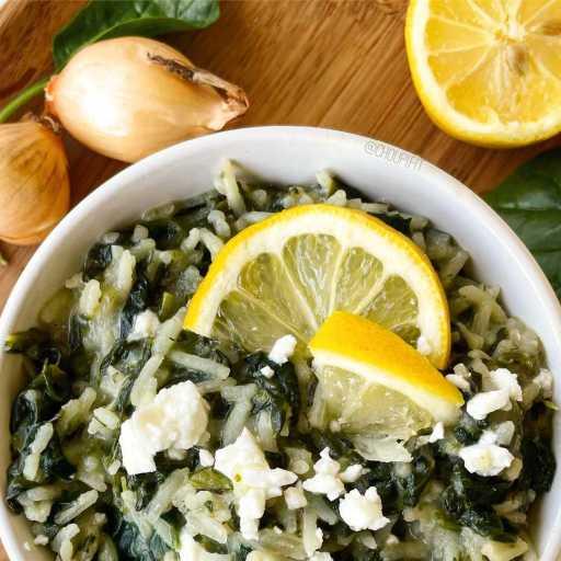 recette healthy et végétarienne de riz aux épinards et féta à la façon du spanakorizo grec